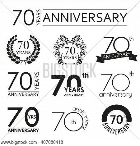 70 Years Anniversary Icon Set. 70th Anniversary Celebration Logo. Design Elements For Birthday, Invi