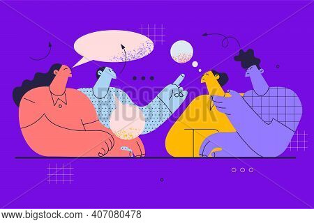 Negotiations, Brainstorm, Office Work Concept. Business Partners Office Workers Sitting And Having N