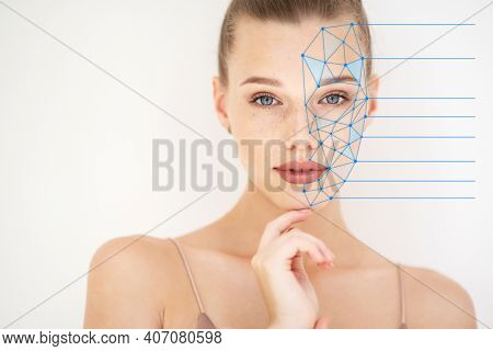 Grid showing facial lifting effect or beauty treatment on skin of beautiful young woman with healthy face. Portrait of beautiful woman with clean skin, youth concept, anti-aging.