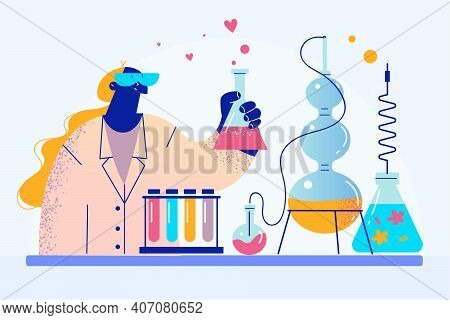 Chemistry Worker, Woman Scientist Concept. Female In Uniform Working As Experimental Physician Or Ch