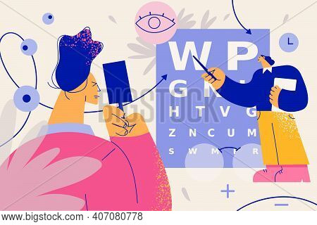 Ophthalmology And Vision Examination Concept. Doctor Ophthalmologist Conducting Eye Test Using Chart
