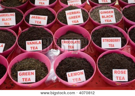 Tea for sale at a market in India