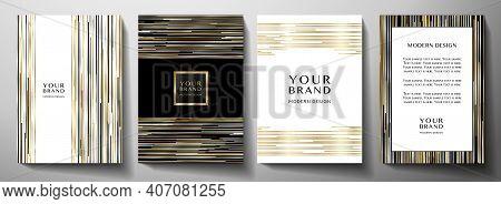 Modern Black Cover Design Set. Luxury Creative Line Pattern In Premium Colors: Black, Gold, Silver A