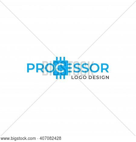 Unique And Clean Wordmark Logo About Computer Processor In Light Blue Color. Eps 10, Vector.