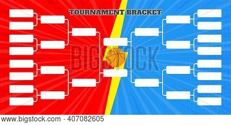 16 Basketball Team Tournament Bracket Championship Template Flat Style Design Vector Illustration Is