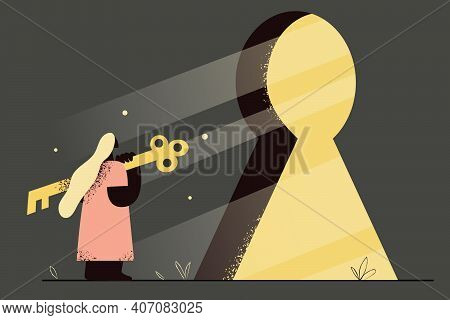 Privacy, Opportunity, Entering New Life Concept. Female Standing And Holding Huge Key To Open Lock I