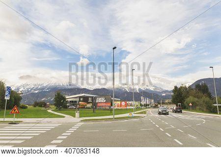 Lesce, Slovenia, October 2020: Supermarket Overlooking The Alps In Slovenia