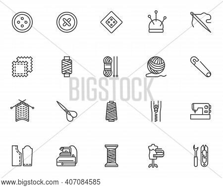 Needlework, Sewing Line Icons Set. Linear Style Symbols Collection, Outline Signs Pack. Vector Graph