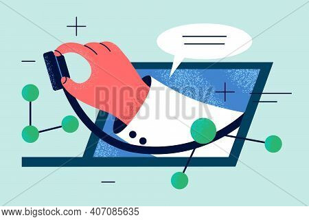 Online Doctor, Telemedicine, Virtual Healthcare Concept. Hand Of Doctor With Stethoscope Protruding