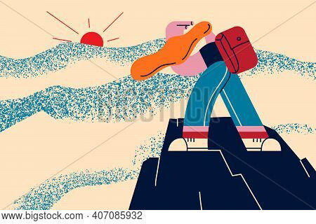 Extreme Sport, Hiking, Achievement Concept. Traveler Man With Backpack Climbing On Mountain Peak Enj