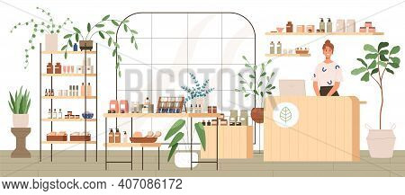 Interior Of Trendy Cosmetics Shop With Organic Natural Products For Skincare. Smiling Seller Behind