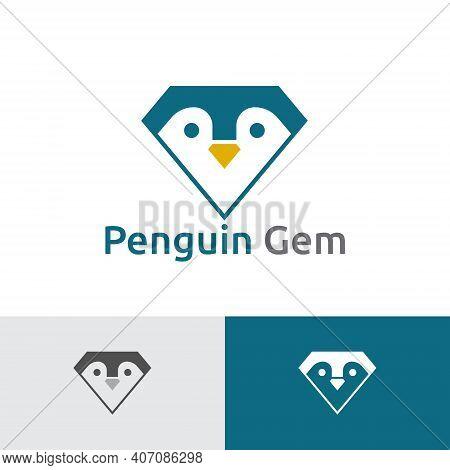 Cute Penguin Gem Diamond Jewelry Logo Template