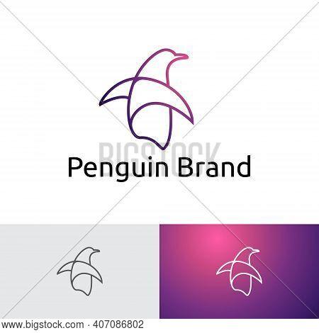 Penguin Line Art Monoline Simple Logo Template