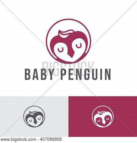 Sleeping Baby Penguin Kid Children Logo Template