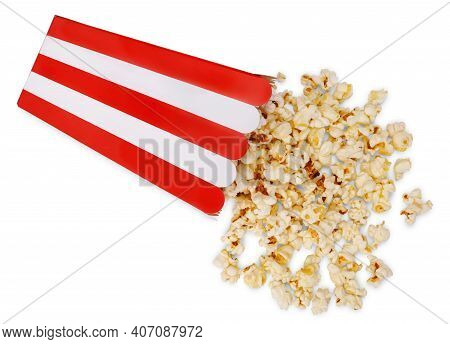 Overturned Red Striped Paper Popcorn Bucket And Delicious Popcorn Near Isolated On White Background.