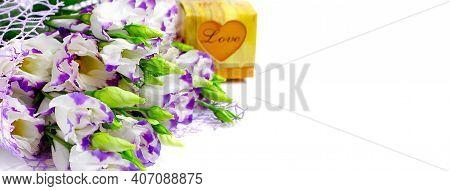 Bouquet Purple Eustoma (lisianthus) Flowers & Gift Box Love Isolated On White. Purple Lisianthus Or