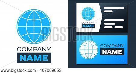 Logotype Earth Globe Icon Isolated On White Background. World Or Earth Sign. Global Internet Symbol.