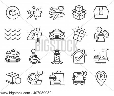 Transportation Icons Set. Included Icon As Delivery Insurance, Bus Parking, Bumper Cars Signs. Disab