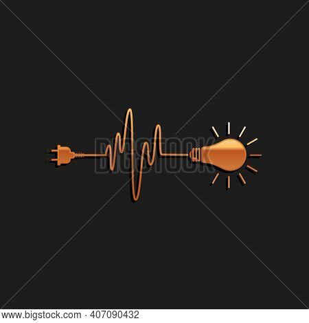 Gold Wire Plug And Light Bulb Icon Isolated On Black Background. Plug, Lamp And Cord In The Form Of