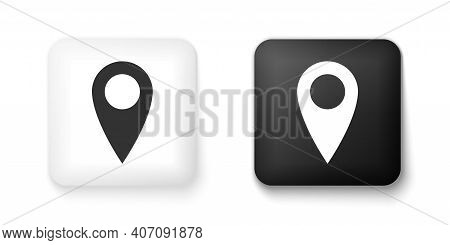 Black And White Location Icon Isolated On White Background. Pointer Symbol. Navigation Map, Gps, Dir