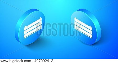Isometric Wooden Box Icon Isolated On Blue Background. Grocery Basket, Storehouse Crate. Empty Woode