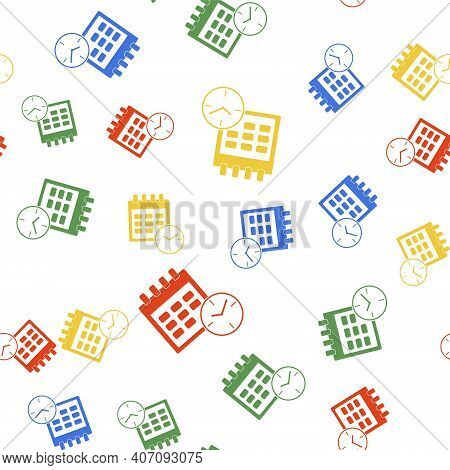Color Calendar And Clock Icon Isolated Seamless Pattern On White Background. Schedule, Appointment,