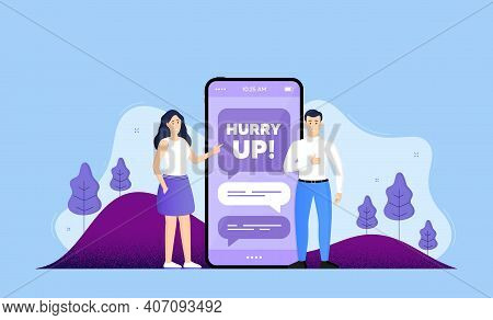Hurry Up Sale. Phone Online Chatting Banner. Special Offer Sign. Advertising Discounts Symbol. Hurry