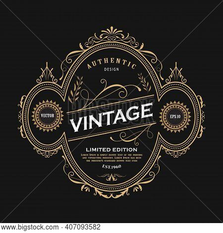 Antique Ellipse Frame Design Western Label Vintage Border Blackboard Vector