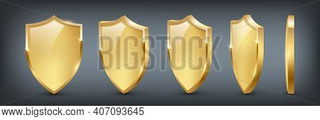 Shields With Reflection In Shiny Gold Frames Set. Collection Of Military Armor In Front, Side View I
