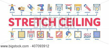 Stretch Ceiling Tile Minimal Infographic Web Banner Vector. Ceiling Material And Photo Layer, Laser