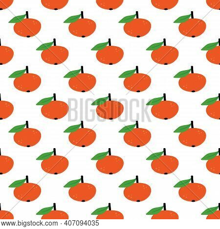 Cute Cartoon Style Tangerine, Clementine, Mandarin Orange Fruit With Leaf Vector Seamless Pattern Ba