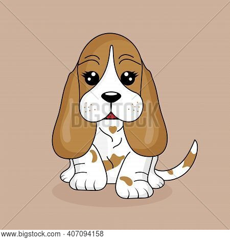 Cute Dog Breed Basset Hound. Cartoon Vector Illustration Of Funny Dog Thoroughbred.