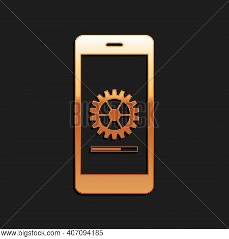 Gold Smartphone Update Process With Gearbox Progress And Loading Bar Icon Isolated On Black Backgrou