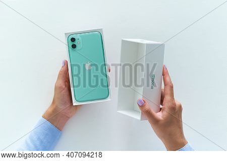 27 July 2020 - Unpacking Box Of Mint Green Iphone 11 With Dual Camera Of 2019 Release. Apple Gadgets