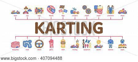 Karting Motorsport Minimal Infographic Web Banner Vector. Karting Race And Track, Kart Engine And St