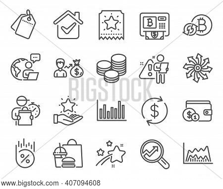 Finance Icons Set. Included Icon As Tips, Analytics, Loyalty Program Signs. Loyalty Ticket, Bar Diag