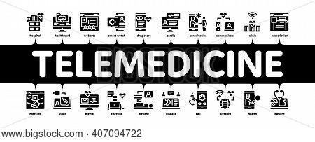 Telemedicine Treatment Minimal Infographic Web Banner Vector. Patient Online Medical Exam And Teleme