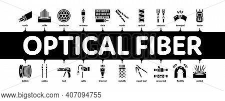 Optical Fiber Cable Minimal Infographic Web Banner Vector. Fiber Repair Instrument And Electrical De