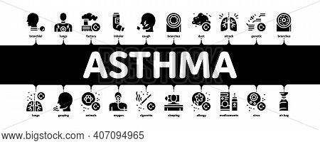 Asthma Sick Allergen Minimal Infographic Web Banner Vector. Asthma Allergy On Animal And Smoke, Flow