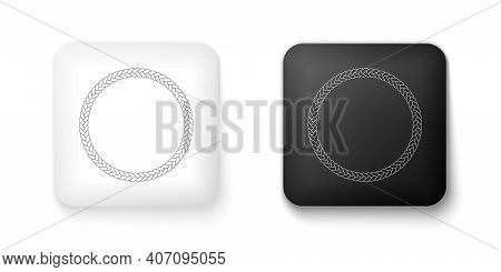 Black And White Rope Frame Icon Isolated On White Background. Frames From Nautical Rope. Round Marin