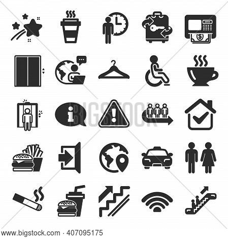 Public Services, Wifi Icons. Elevator, Cloakroom And Taxi Icons. Exit, Atm And Escalator. Wifi, Lift