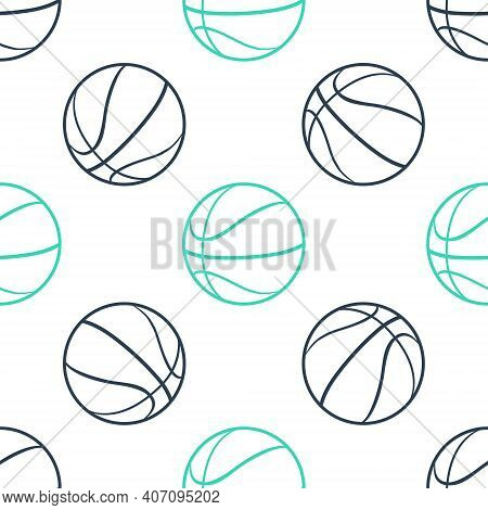 Green Basketball Ball Icon Isolated Seamless Pattern On White Background. Sport Symbol. Vector