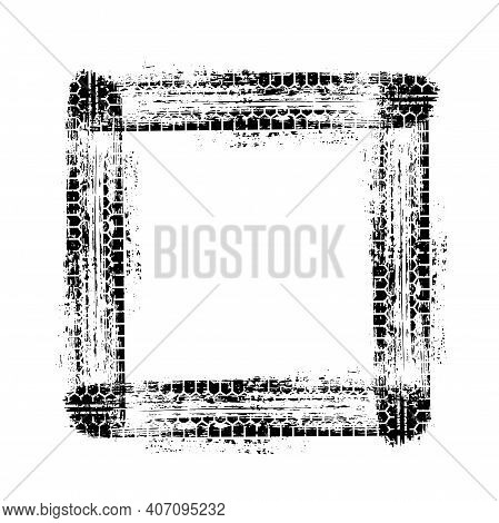Black Car Wheel Tire Track Frame In Grunge Square Shape Isolated On White Background. Tyre Tread Pri