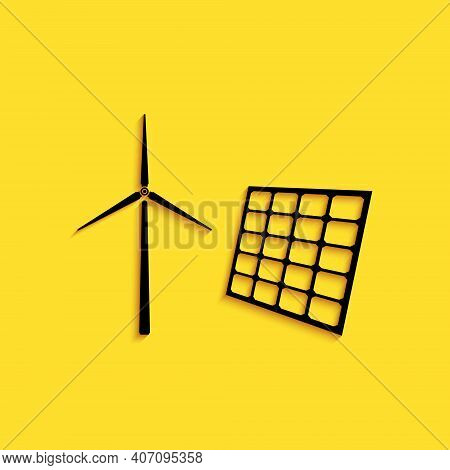 Black Wind Mill Turbines Generating Electricity And Solar Panel Icon Isolated On Yellow Background.