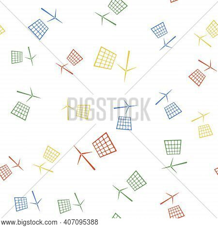 Color Wind Mill Turbines Generating Electricity And Solar Panel Icon Isolated Seamless Pattern On Wh
