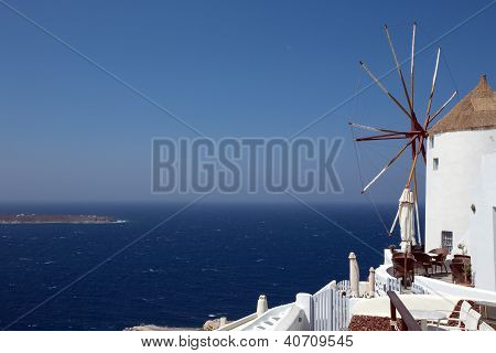 Windmil Looking Out To Sea, Santorini.