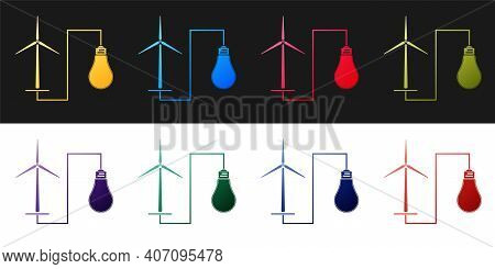 Set Wind Mill Turbine Generating Power Energy And Bulb Icon Isolated On Black And White Background.
