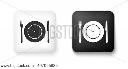 Black And White Plate With Clock, Fork And Knife Icon Isolated On White Background. Lunch Time. Eati