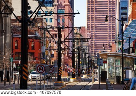 Streetcar Line On The Main Street In Buffalo And Downtown Buildings On Background, Ny Usa