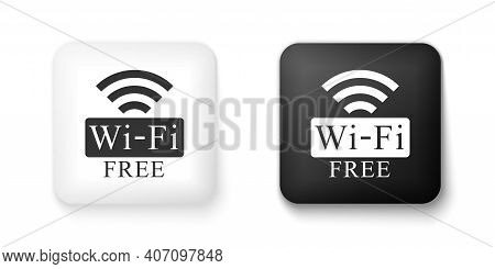 Black And White Free Wi-fi Icon Isolated On White Background. Wi-fi Symbol. Wireless Network Icon. W